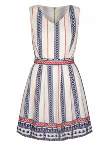 Yumi Motif Stripe Print Skater Dress