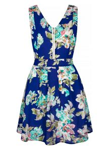 Yumi Tropical Floral Print Skater Dress
