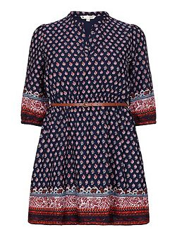 Paisley Print Tunic Belt Dress
