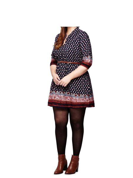 Yumi Curves Paisley Print Tunic Belt Dress