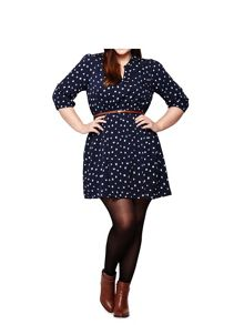 Yumi Curves Cat Print Tunic Belt Dress