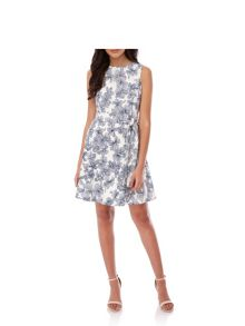 Yumi Hawaiian Floral Print Skater Dress
