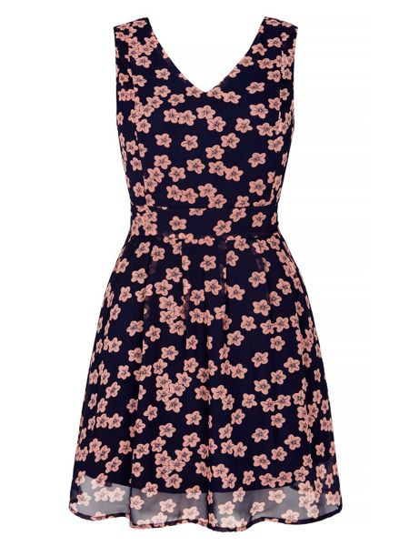 Yumi Floral Printed Skater Dress