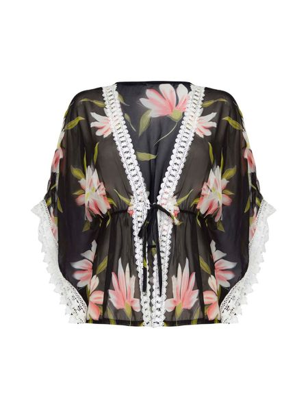 Mela London Lace Trim Tropical Print Kimono