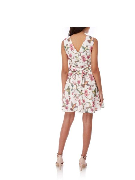 Yumi Bird Floral Print Summer Dress
