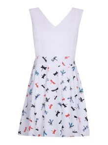 Mela Loves London Dragonfly Print Skater Dress