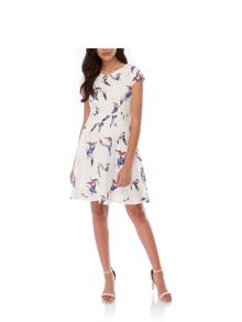 Yumi Tropical Bird Print Day Dress