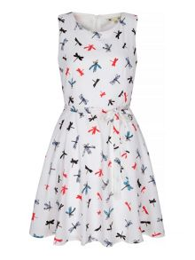 Yumi Dragonfly Print Skater Dress