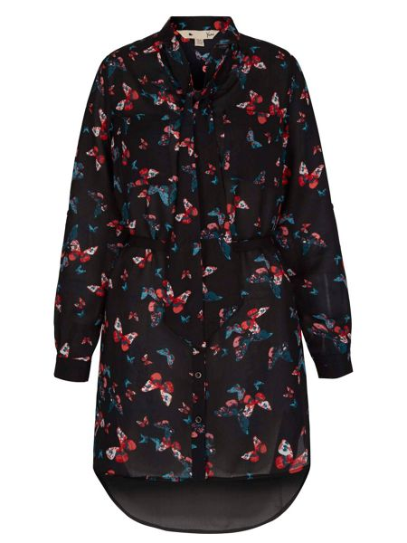 Yumi Butterfly Print Shirt Dress