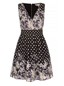 Yumi Floral Polka Dot Print Skater Dress