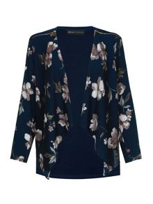 Mela Loves London Midnight Floral Print Waterfall Jacket