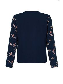 Mela Loves London Swallow Bird Print Waterfall Jacket