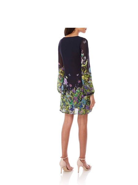 Yumi Butterfly Floral Print Tunic Dress
