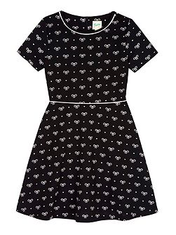 Bow Printed Jersey Skater Dress