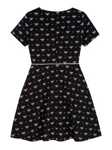 Yumi Girls Bow Printed Jersey Skater Dress