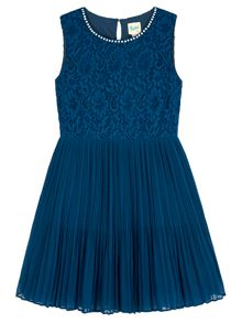 Yumi Girls Embellished Lace Pleated Dress
