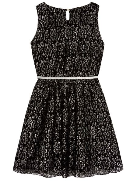 Yumi Girls Silver Lace Party Dress