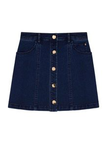 Yumi Girls Denim Mini Skirt With Buttons