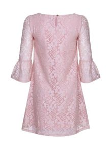 Yumi Girls Lace Funnel Sleeve Shift Dress