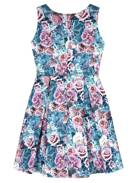 Yumi Girls Floral Print Pleated Dress
