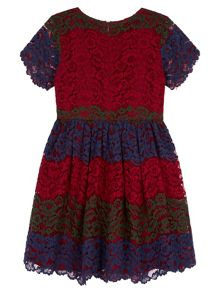 Yumi Girls Lace Stripe Party Dress