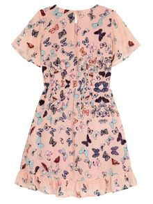 Yumi Girls Butterfly Print Frill Dress