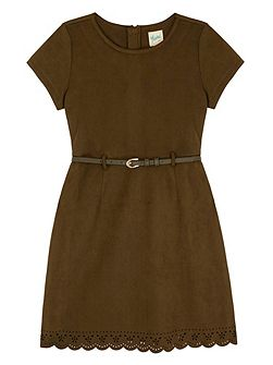 Faux Suede Perforated Shift Dress
