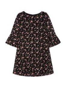 Yumi Girls Floral Printed Lace Dress