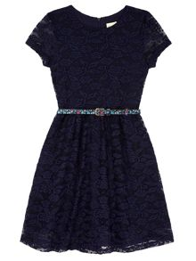 Yumi Girls Lace Skater Dress with Floral Belt