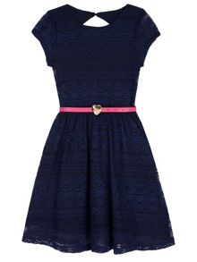 Yumi Girls Lace Skater Dress with Heart Belt