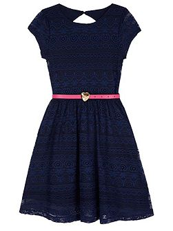 Lace Skater Dress with Heart Belt