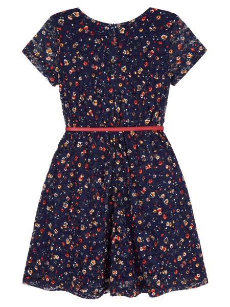 Yumi Girls Bow Print Lace Skater Dress