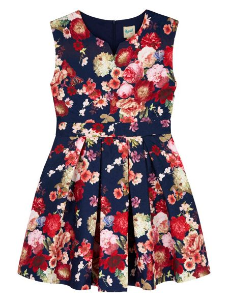 Yumi Girls Antique Floral Print Skater Dress