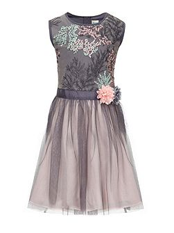 Floral Embroidered Tulle Prom Dress