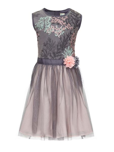 Yumi Girls Floral Embroidered Tulle Prom Dress