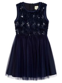 Yumi Girls Floral Applique Embellished Prom Dress