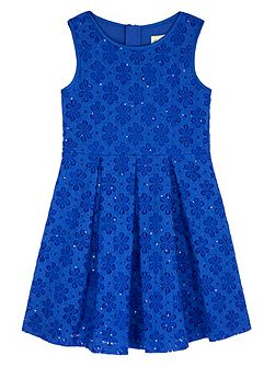 Sequin Floral Lace Pleated Dress