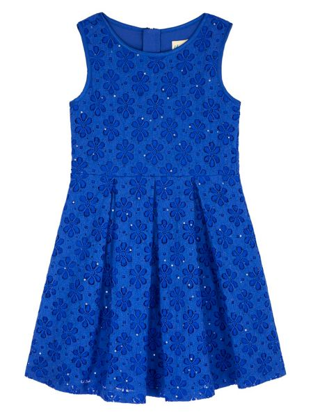 Yumi Girls Sequin Floral Lace Pleated Dress