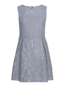 Uttam Sequin Floral Lace Pleated Dress