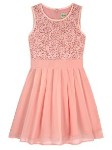 Yumi Girls Sequin Floral Lace Party Dress