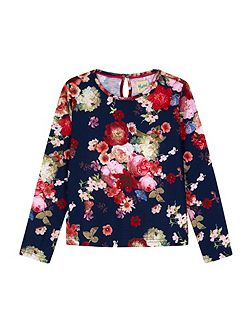 Oil Painted Flower Print Top