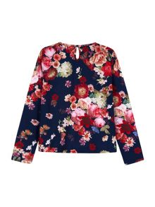 Yumi Girls Oil Painted Flower Print Top
