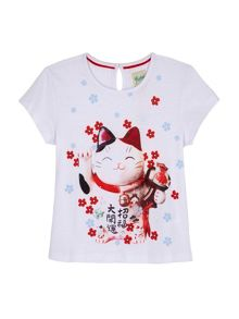 Yumi Girls T-Shirt With Lucky Cat Print
