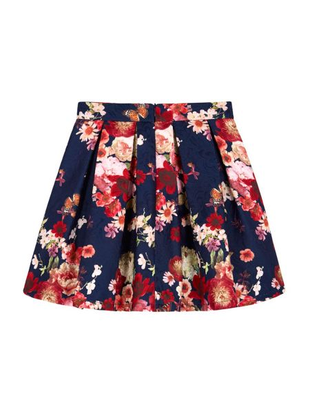 Yumi Girls Antique Floral Print Skater Skirt