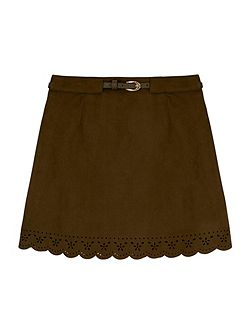 Perforated Faux Suede Skirt