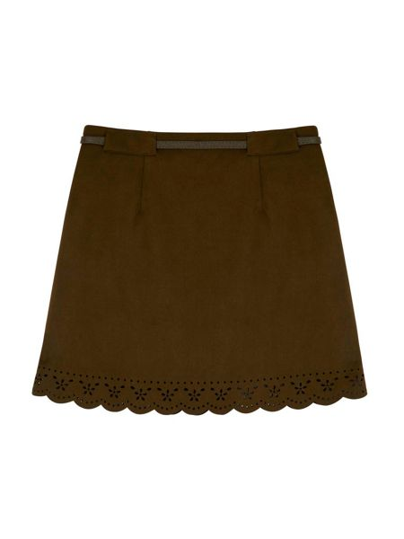 Yumi Girls Perforated Faux Suede Skirt