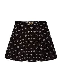 Yumi Girls Bow Printed Belt Skater Skirt