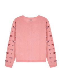 Yumi Girls Sequin Hearts & Bow Cardigan
