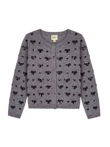 Uttam Sequin Hearts & Bow Cardigan
