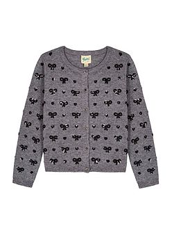 Sequin Hearts & Bow Cardigan